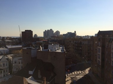 At center, the roof of 6 Tonnele Ave. in Jersey City, as seen from the roof of 20-22 Tonnele Ave., about 100 feet to the north. (Mark Mueller | NJ Advance Media)