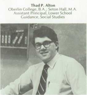Thad P. Alton as he appeared in a Pingry yearbook.