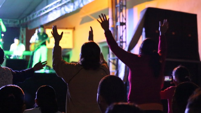 Worshipers at an outdoor Assemblies of God service in Esteli in February 2016. Such services are common in the deeply faithful community. (Brian Donohue | NJ Advance Media for NJ.com)