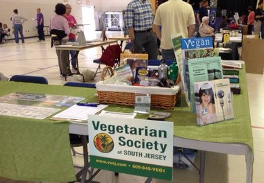 A Vegetarian Society of South Jersey display is pictured in this provided photo.
