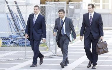 Assistant U.S. Attorneys David Feder, left, Vikas Khanna and Lee M. Cortes Jr. walk to the courthouse. (Aristide Economopoulos | NJ Advance Media for NJ.com)