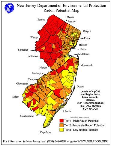 New Jersey Radon potential map.