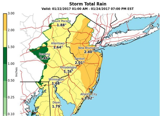 This map, updated by the National Weather Service on Sunday, shows the latest rainfall totals expected across New Jersey from Sunday night to Tuesday evening. Areas shaded in orange are projected to get 2 to 3 inches of rain. (National Weather Service)