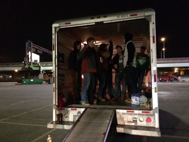 People tailgate in a Uhaul for Wing Bowl 25, Feb. 3, 2017.