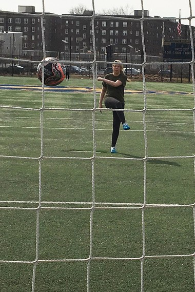 Jillian Kimber on the soccer field of Essex County's Riverfront Park in Newark. (Ted Sherman | NJ Advance Media for NJ.com)