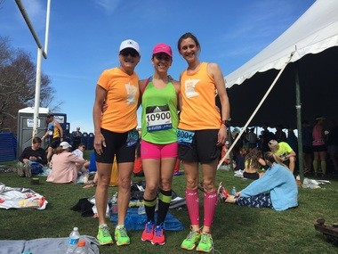 Julianne Bowe, center, before the race in the athletes' village with Caryn Kelly, left, and Jessica Carter, both from Minnesota.