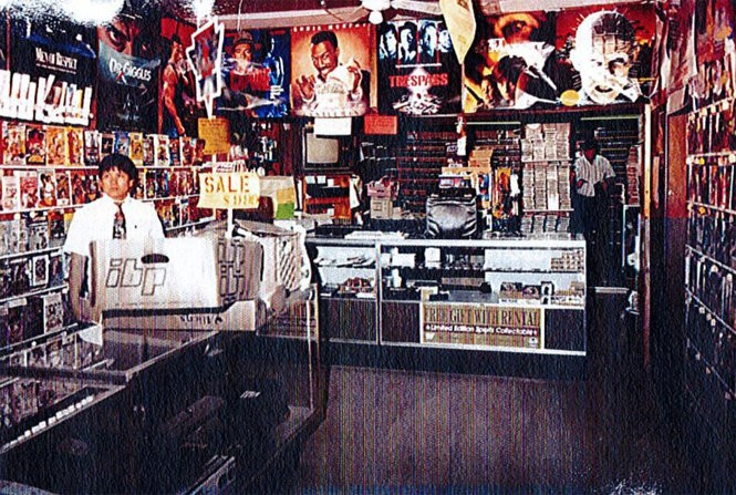 A crime scene photo from 1993 shows the interior of Victoria Video shortly after the murder.