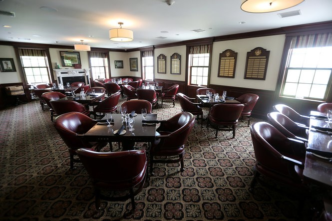 One of the dining areas in the clubhouse at Trump National Golf Club in Bedminster. (John Munson | NJ Advance Media for NJ.com)