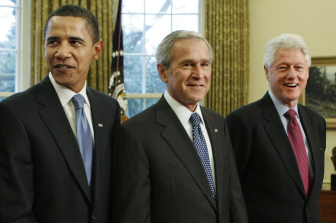 Presidents George W. Bush, Barack Obama, and Bill Clinton will open the Presidents Cup matches at Liberty National Golf Club in Jersey City. (J. Scott Applewhite | AP file photo)