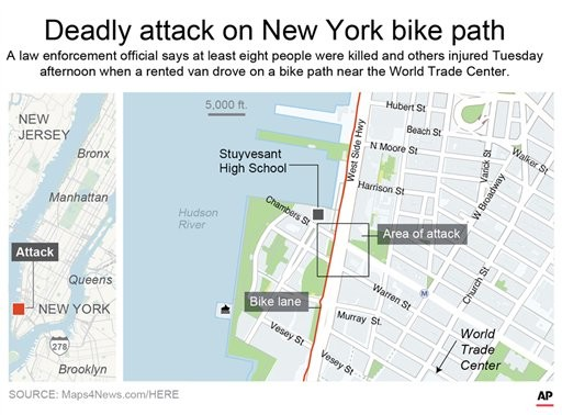 The scene of the attack in Manhattan. (AP map)