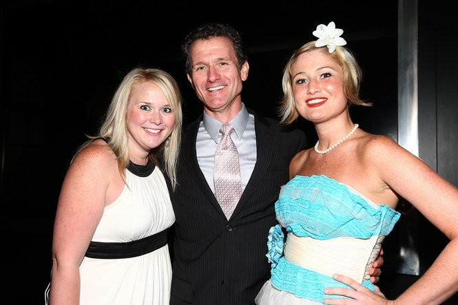 Actress Megan Elizabeth Lewis, at right, with Gretchen Burghart and Paul Jackel, two other cast members from 'Legally Blonde: The Musical,' at the show's Hollywood premiere in August 2009. Lewis says George H.W. Bush groped her when the show came to Houston.