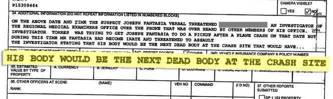 An excerpt of the police report filed by medical examiner staff against Joseph Fantasia.