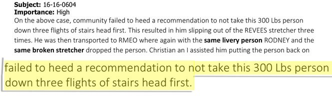An excerpt from internal documents from the medical examiner's office.