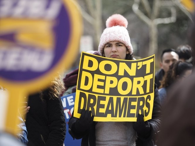Protesters marched from Rutgers-Newark to the federal building on Broad Street Monday in support of the Deferred Action for Childhood Arrivals, or DACA, program. President Donald Trump planned to kill the DACA program on March 5 unless Congress passed a new immigration reform plan. (Patti Sapone | NJ Advance Media for NJ.com)