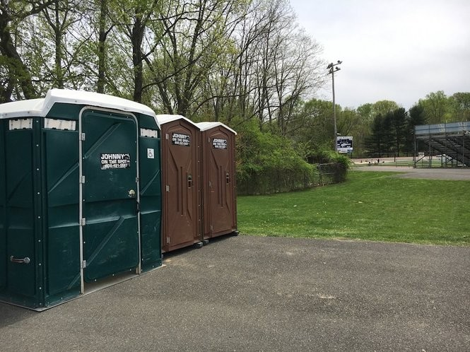 These three portable toilets are about 80 steps from the running track. (Allison Pries | NJ Advance Media for NJ.com)