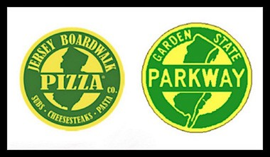 Jersey Boardwalk Pizza has been using the logo on the left to advertise its business. The New Jersey Turnpike Authority argues its too similar to the Parkway logo.