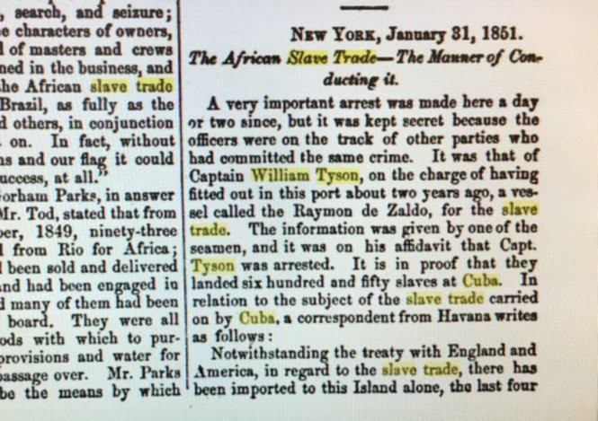 Part of an article printed in the 1851 edition of the Friends' Review published in Philadelphia which says a Captain William Tyson was arrested for trafficking in slaves. (Provided)