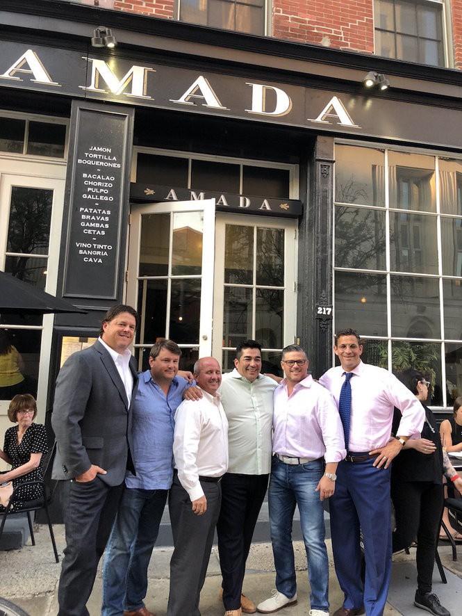 Celebrity Chef Jose Garces with his new partners. From left, Paul Ballard, Scott Ballard, Ronnie Artigues, Garces, Steve Ballard, David Maser. (Photo courtesy of Kate Wilhelm)
