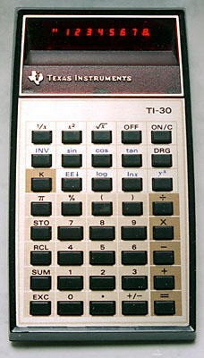 The Texas Instruments TI30 calculator, introduced in 1976.