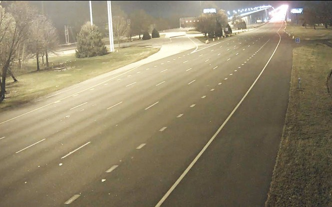 The approach to the Delaware Memorial Bridge in Pennsville Township was eerily empty Sunday night as seen in this screen grab from a Delaware River and Bay Authority camera after the bridge was ordered shut down. (DRBA)