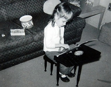 Lisa Hatala ready to rock out on her brand new Schroeder piano in 1964.