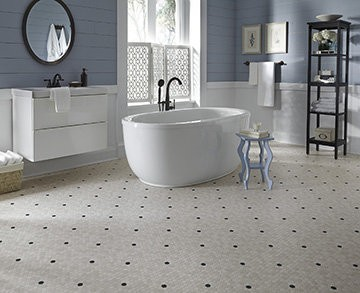 An updated throwback design, Penny Lane features small-scale marble hexagon patterns with colorful insets. Give your home a modern touch of nostalgia with this unique and charming floor.