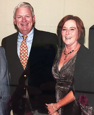 Sherry Hawkins, recipient of the JBC Award in 2009, with Chairman of the Board Keith Campbell.