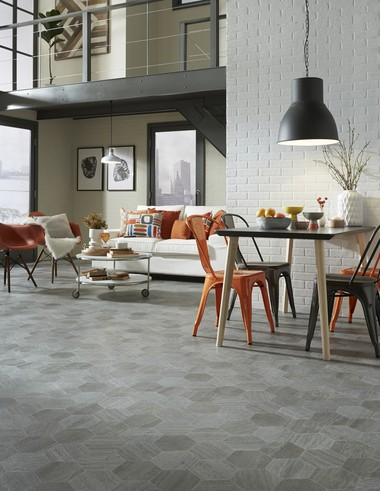 Hive is a linear limestone look with rectified grout lines in a honeycomb pattern. This reinterpretation of classic hexagon tile makes a chic statement in a resilient floor.
