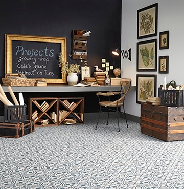 Deco resilient flooring features a dramatic large format pattern based on the beautiful symmetry of intertwined florals.