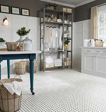 Mannington's USA-made luxury vinyl sheet flooring in a basketweave pattern marries the classic and the contemporary for a retro look that's on-trend.