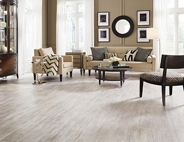 Mannington laminate flooring offers beauty and durability with SpillShield moisture protection.