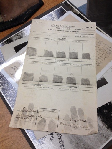 Fingerprints recovered at the 1920s' murder scene. (courtesy photo)