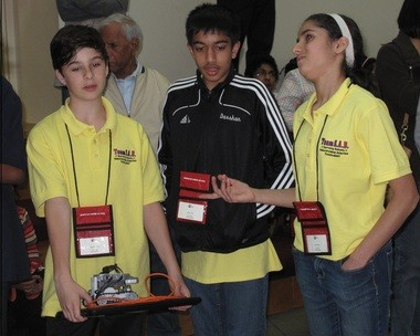 Students from across New Jersey have won top places at the 2015 Artificial Intelligence oriented USA Robocup Junior Tournament. All these students currently are attending a Branchburg-based Robotics Learning Lab - Storming Robots. Pictured (from left) are students who took first place for Rescues Line /Primary League: Alexander Lisenko, grade six from Bridgewater; and Darshan Patel, grade seven from East Brunswick; and Sonia Purohit, grade seven from Branchburg. (courtesy photo)