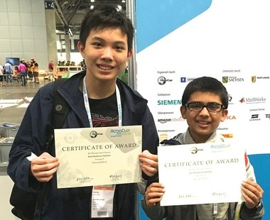 Two teams of students from Branchburg-based Storming Robots placed highly in RoboCup Junior international competitions. Pictured, Best 'Hardware Solution' Team AvengerZ - Ethan Mak, 14, of Short Hills and Shikhar Ahuja, 12, of Belle Mead. (courtesy photo)