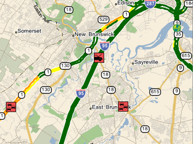 Middlesex County morning traffic: Accident on Route 18 in East