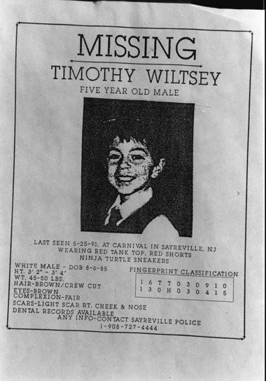 The 1991 missing person poster of Timothy Wiltsey after he disappeared.