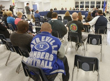 Students, parents, and alumni as the Sayreville Board of Education upheld the cancellation of the football season earlier this week.