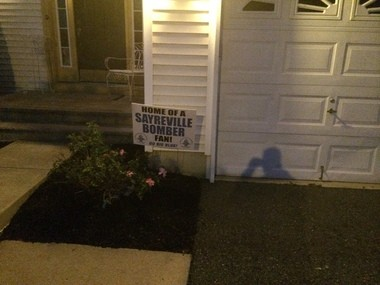 A sign outside the home of Sayreville star football player Myles Hartsfield.