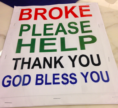 John Fleming, a homeless man, can continue to use this sign to beg on the streets of New Brunswick, after a Middlesex County judge temporarily stopped the city from enforcing an anti-begging ban, says the ACLU of New Jersey.