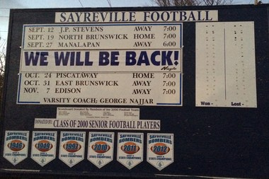 The Sayreville football scoreboard on Main Street (Vernal Coleman | NJ Advance Media for NJ.com)