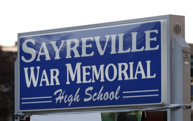 The sign at Sayreville War Memorial High School. (William Perlman | NJ Advance Media for NJ.com)