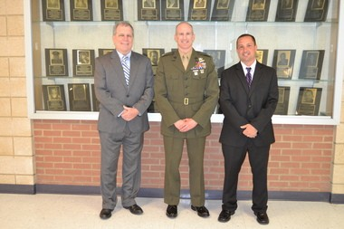 J. Jeffrey Devine, Lt. Col.Adam L. Musoff and Damien Lonigro, husband of the late Jessica Uveges Lonigro, at the Wall of Fame ceremony.