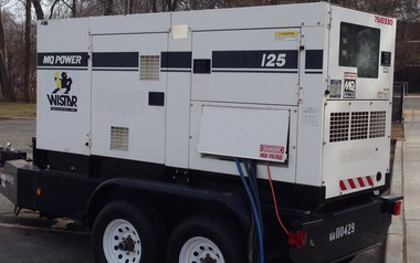 Rutgers University installed a diesel generator outside the Newell Apartments, in Biel Road, in New Brunswick, after the primary line to the apartments failed in mid-December, 2015, causing repeated power outages that students living at the apartment say have become a major inconvenience.