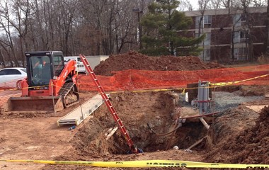 Rutgers workers are continuing to try and fix the main electrical line to the Newell Apartments on Biel Road, in New Brunswick, after the line failed in mid-December, 2015, causing repeated power outages that students living there say have become a major inconvenience.