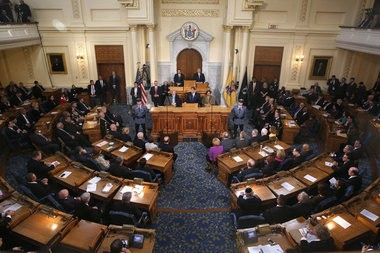 The state Assembly chambers at the Statehouse in Trenton.