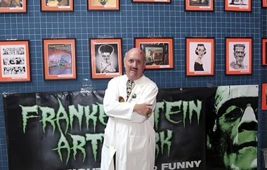 Ronald MacCloskey and part of his collection of Frankenstein memorabilia.