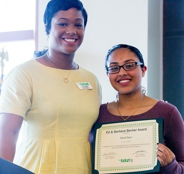 Navjit Kaur, a student at Carteret High School, right, and Imani Gilliam, dean of programs at New Jersey SEEDS, at the NJ SEEDS College Scholars Program graduation. Kaur will attend Franklin & Marshall College in the fall.