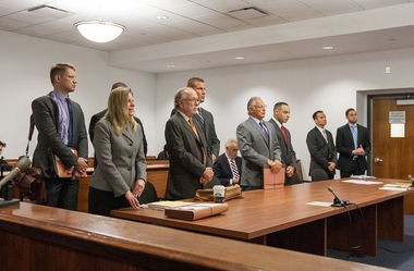 Four Edison police officers appear in State Superior Court in New Brunswick before Judge Michael Toto related to collecting side-job pay for no-show jobs on Aug. 21. (Keith Muccilli | For NJ Advance Media)