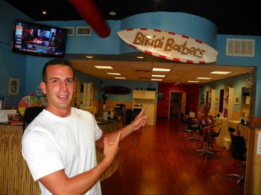 Jeff Wulkan, owner of Bikini Barbers in Long Branch, shows off his salon in September 2012.