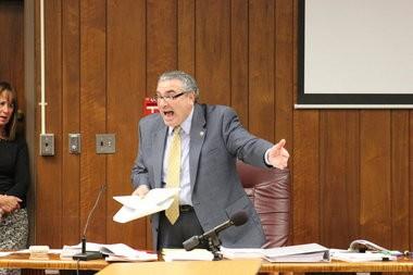 Prosecutor Steven Zabarsky making his case for the maximum sentence for the Morgans to Judge Robert LePore.